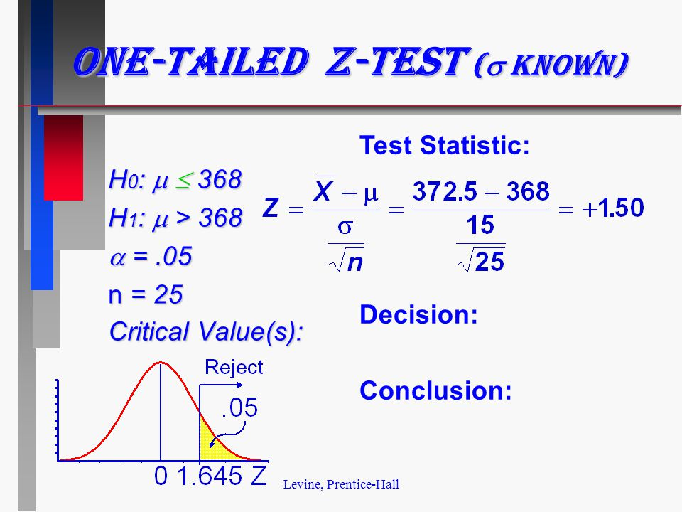 Levine, Prentice-Hall One-tailed z-test (  known) H 0 :   368 H 1 :  > 368  =.05 n = 25 Critical Value(s): Test Statistic: Decision: Conclusion: