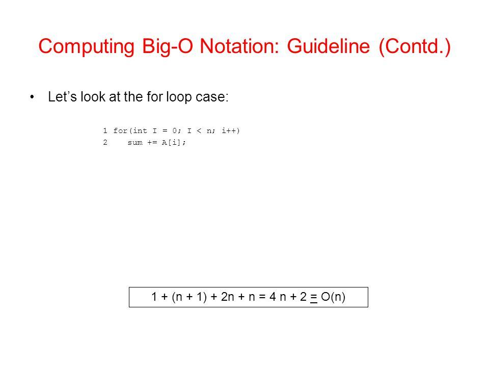 Computing Big-O Notation: Guideline (Contd.) Let's look at the for loop case: 1 for(int I = 0; I < n; i++) 2sum += A[i]; 1 + (n + 1) + 2n + n = 4 n + 2 = O(n)