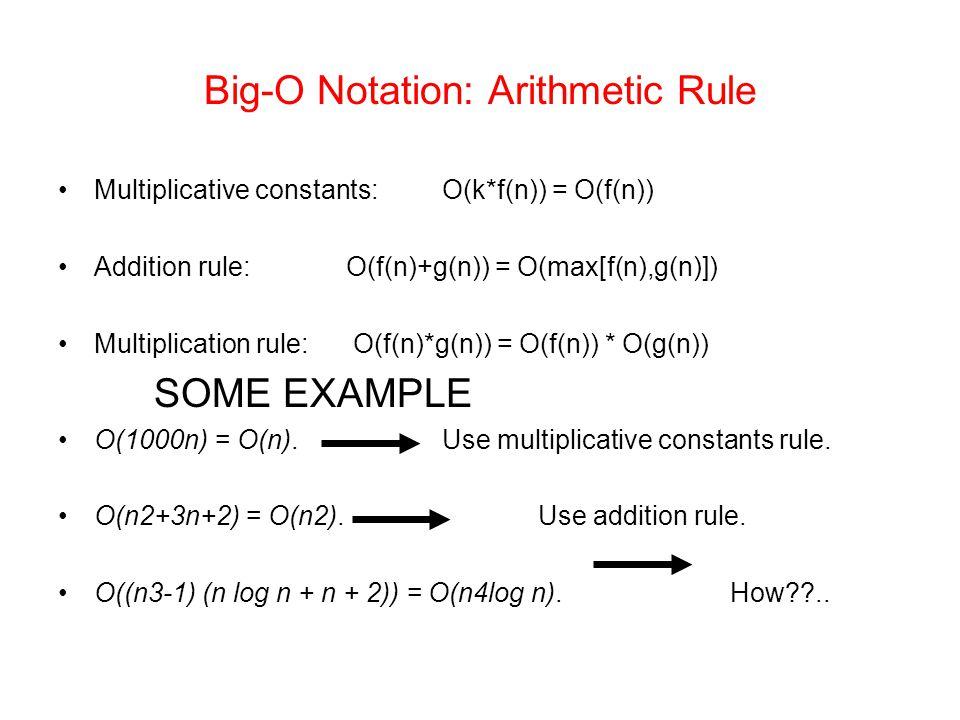 Big-O Notation: Arithmetic Rule Multiplicative constants:O(k*f(n)) = O(f(n)) Addition rule: O(f(n)+g(n)) = O(max[f(n),g(n)]) Multiplication rule: O(f(n)*g(n)) = O(f(n)) * O(g(n)) SOME EXAMPLE O(1000n) = O(n).Use multiplicative constants rule.