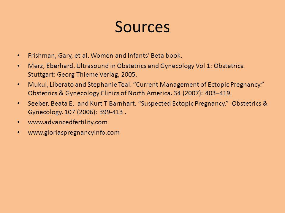 Sources Frishman, Gary, et al. Women and Infants' Beta book. Merz, Eberhard. Ultrasound in Obstetrics and Gynecology Vol 1: Obstetrics. Stuttgart: Geo