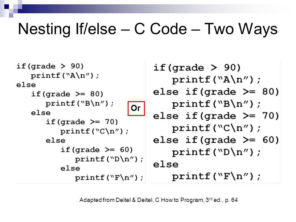 Nesting If/else – C Code – Two Ways Or Adapted from Deitel & Deitel, C How to Program, 3 rd ed., p. 64