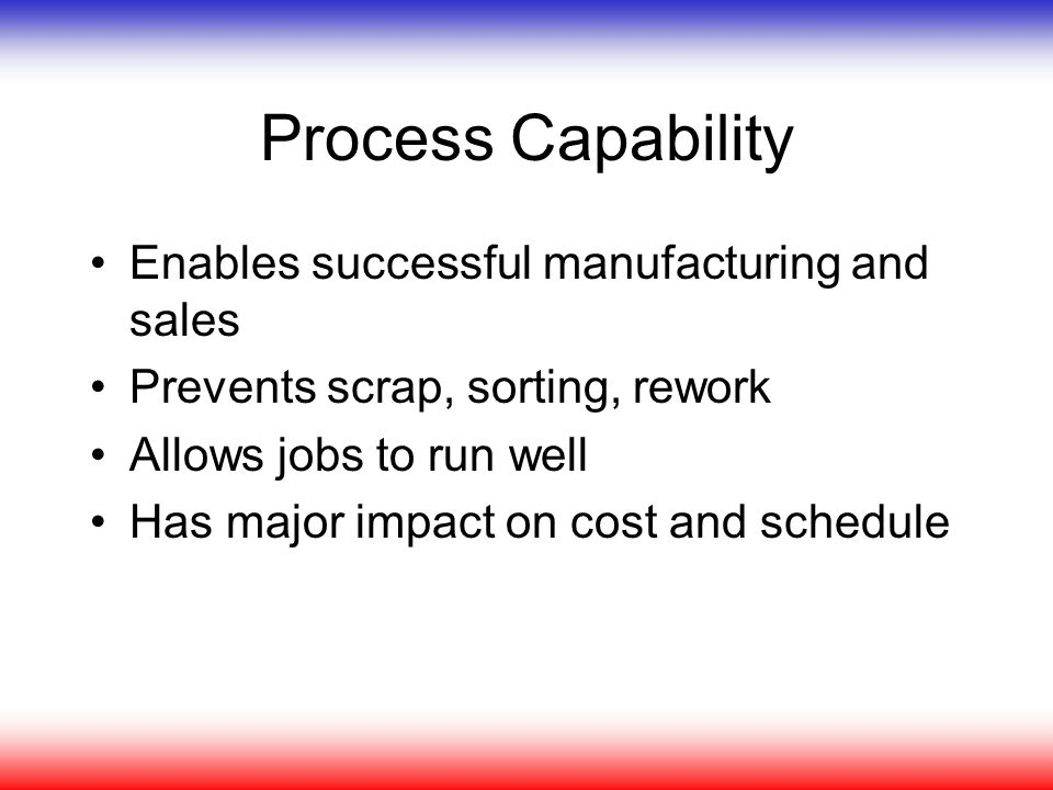 Process Capability Enables successful manufacturing and sales Prevents scrap, sorting, rework Allows jobs to run well Has major impact on cost and sch