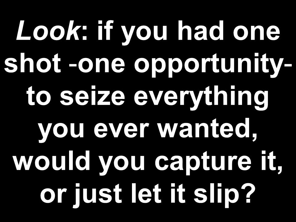 Look: if you had one shot -one opportunity- to seize everything you ever wanted, would you capture it, or just let it slip