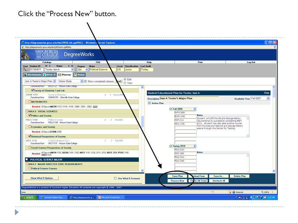 Click the Process New button.