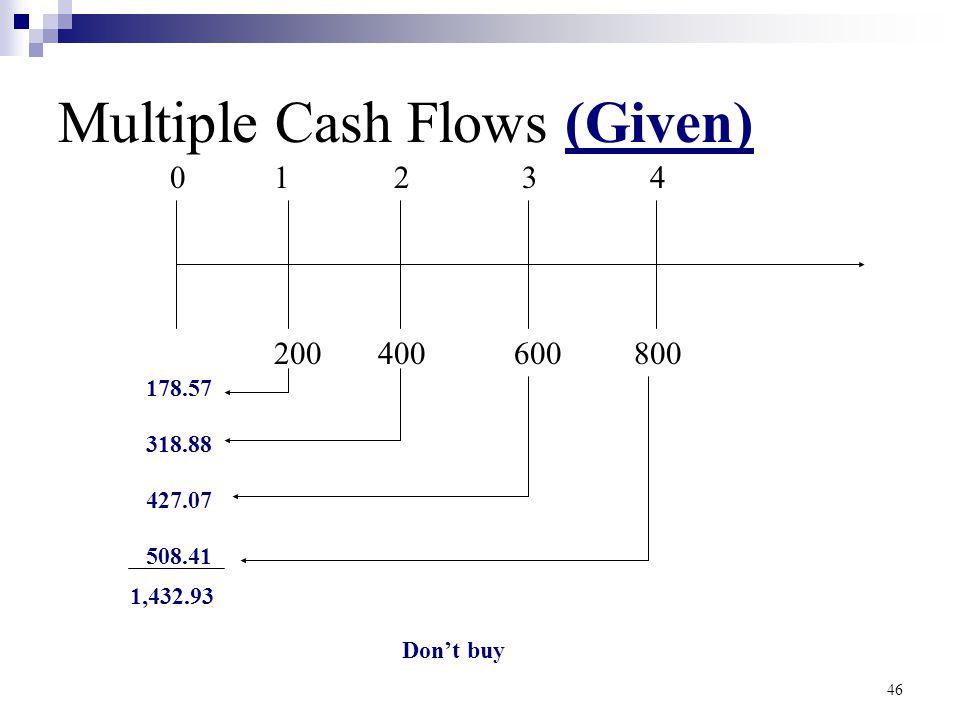 46 Multiple Cash Flows (Given) 01234 200400600800 178.57 318.88 427.07 508.41 1,432.93 Don't buy
