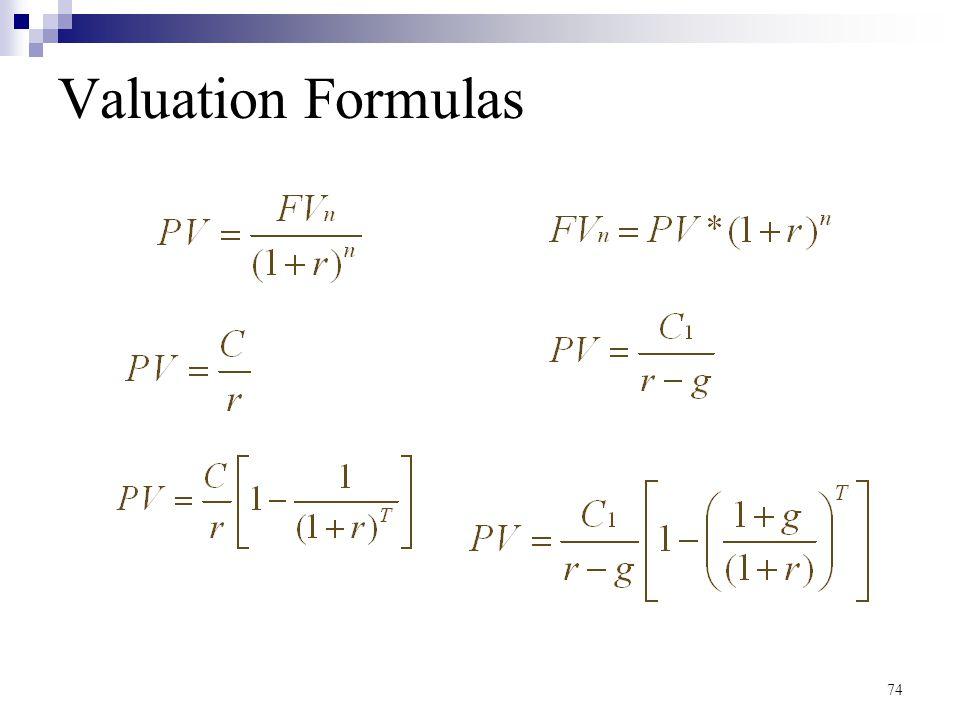 74 Valuation Formulas
