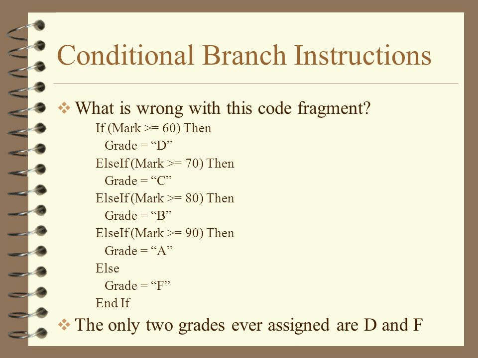 Conditional Branch Instructions  What is wrong with this code fragment.