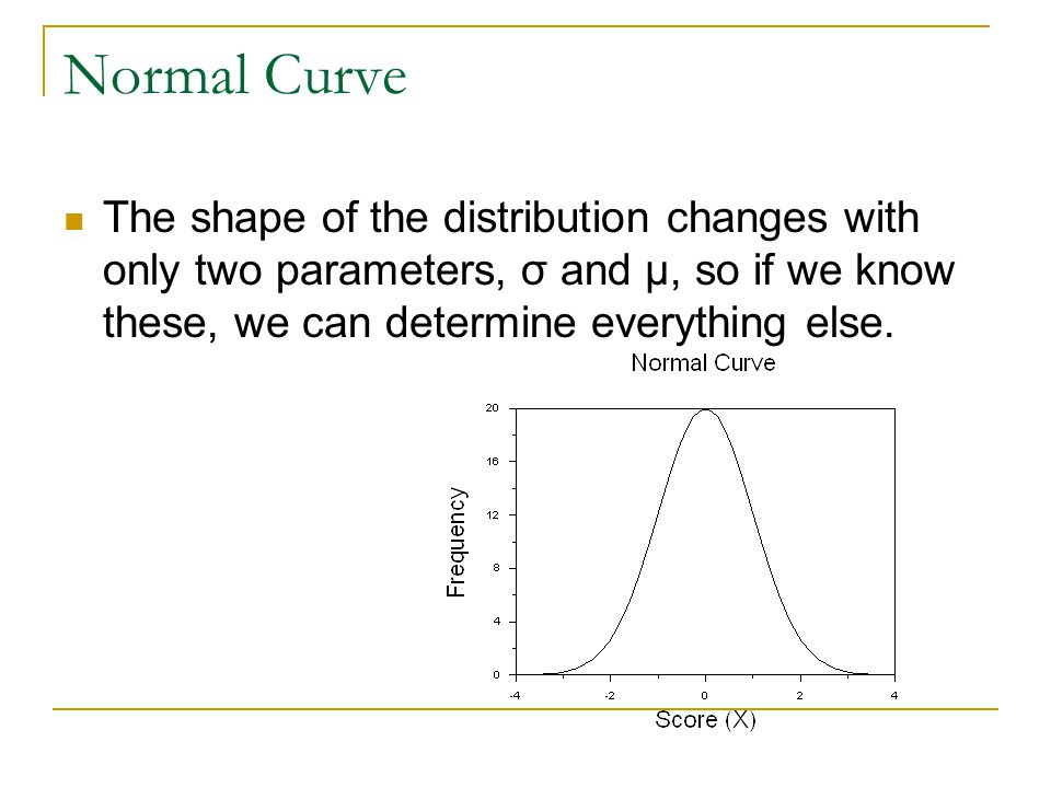 Normal Curve The shape of the distribution changes with only two parameters, σ and μ, so if we know these, we can determine everything else.