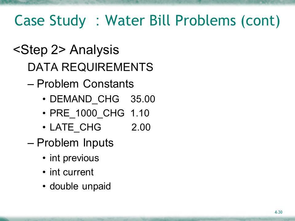 4-30 Case Study : Water Bill Problems (cont) Analysis DATA REQUIREMENTS –Problem Constants DEMAND_CHG 35.00 PRE_1000_CHG 1.10 LATE_CHG 2.00 –Problem Inputs int previous int current double unpaid