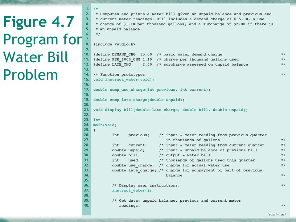 4-39 Figure 4.7 Program for Water Bill Problem