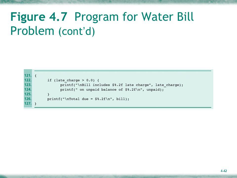 4-42 Figure 4.7 Program for Water Bill Problem (cont ' d)
