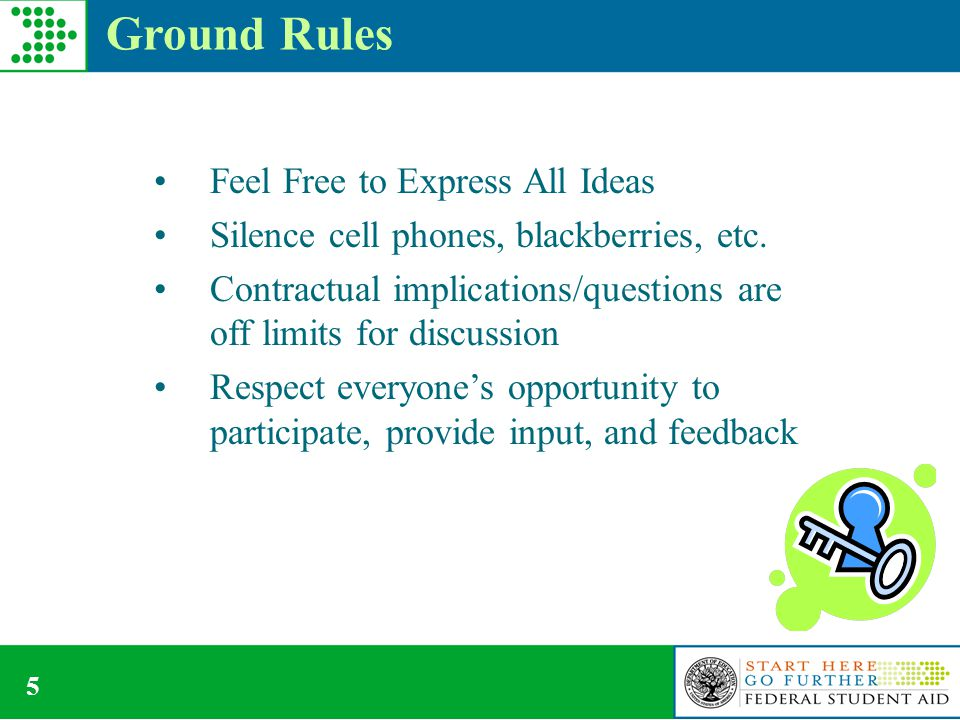 5 Ground Rules Feel Free to Express All Ideas Silence cell phones, blackberries, etc.