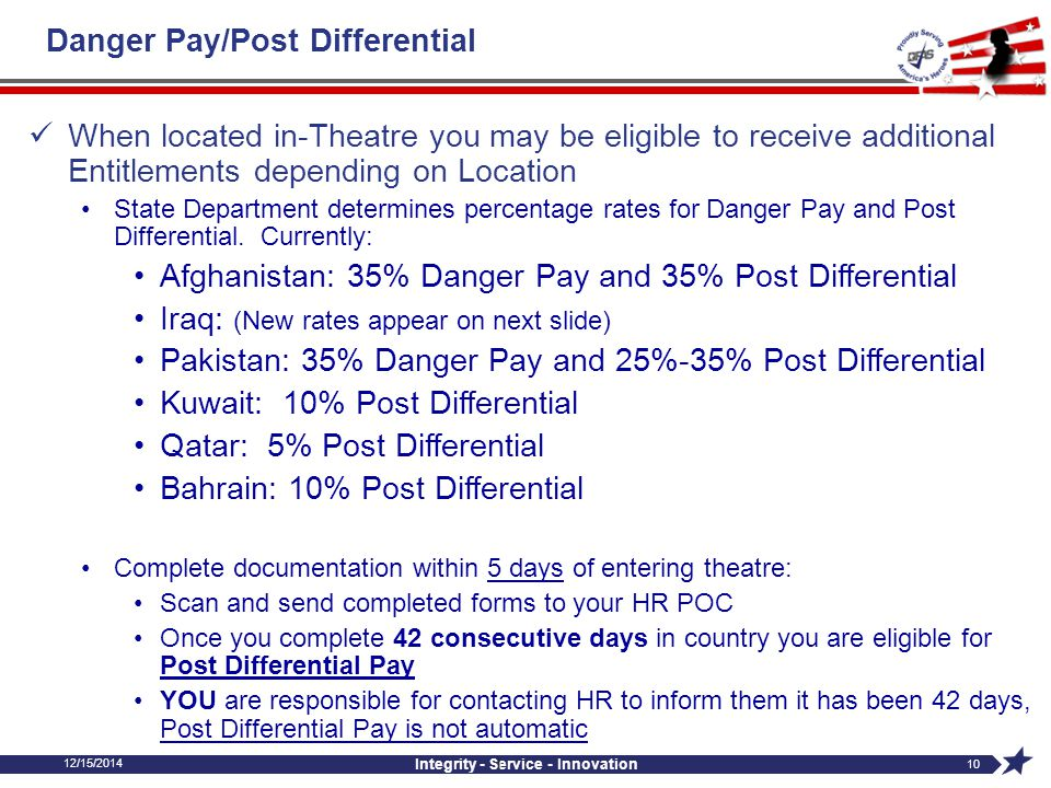 12/15/2014 Integrity - Service - Innovation 10 I Danger Pay/Post Differential When located in-Theatre you may be eligible to receive additional Entitl