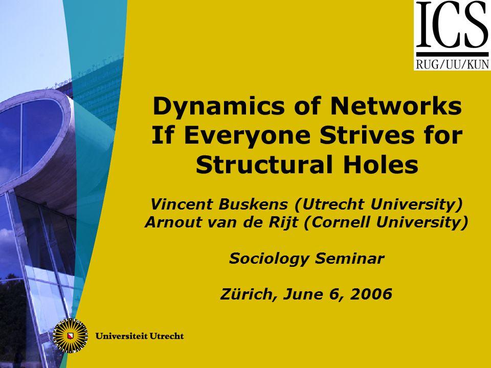 Dynamics of Networks If Everyone Strives for Structural Holes Vincent Buskens (Utrecht University) Arnout van de Rijt (Cornell University) Sociology Seminar Zürich, June 6, 2006