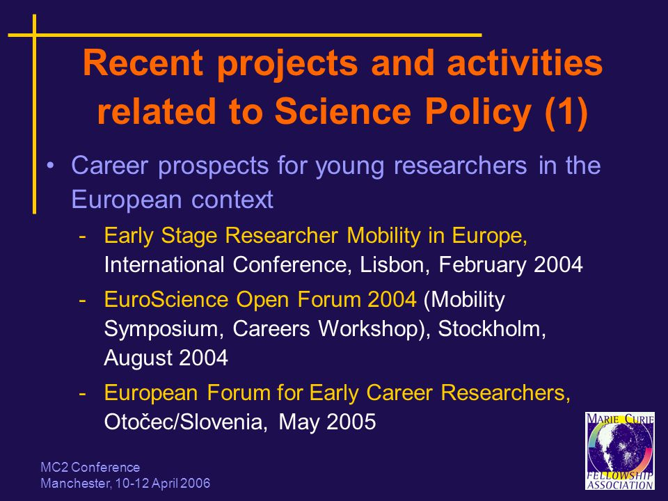 MC2 Conference Manchester, 10-12 April 2006 Recent projects and activities related to Science Policy (1) Career prospects for young researchers in the