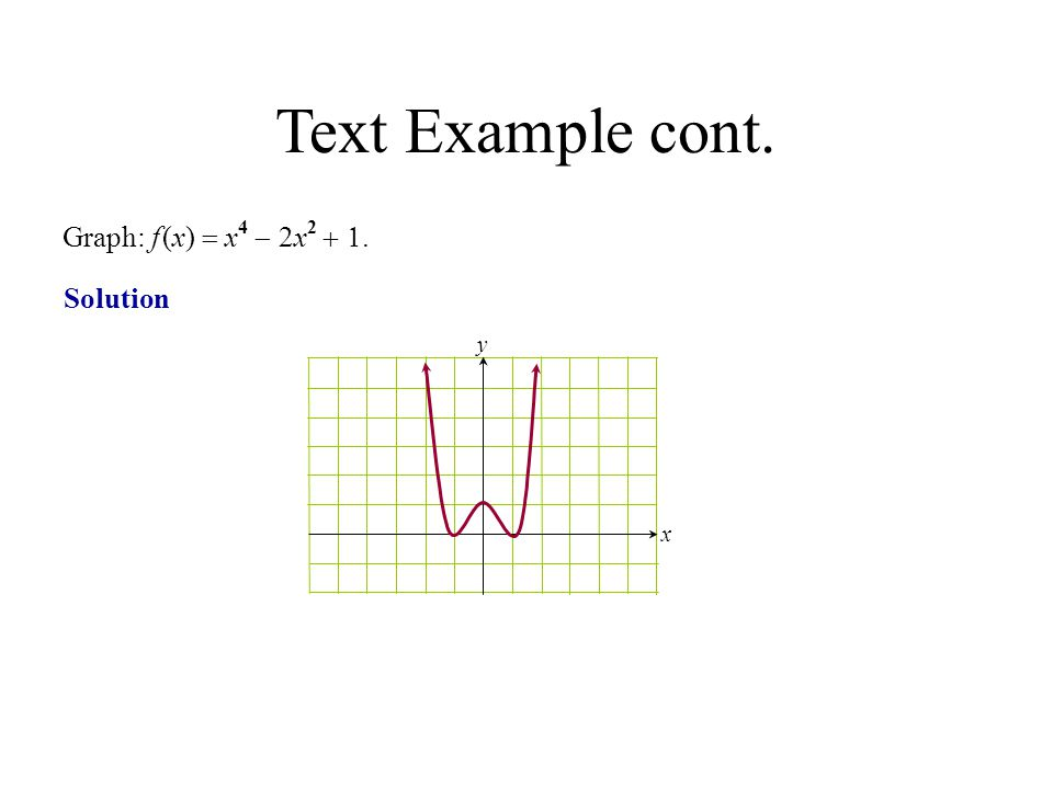 Solution Graph: f (x)  x 4  2x 2 . y x Text Example cont.
