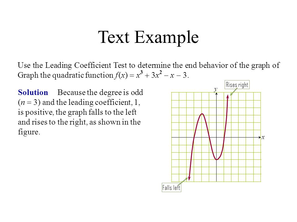 Text Example Solution Because the degree is odd (n  3) and the leading coefficient, 1, is positive, the graph falls to the left and rises to the righ