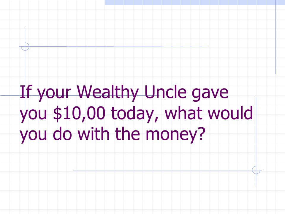 If your Wealthy Uncle gave you $10,00 today, what would you do with the money?