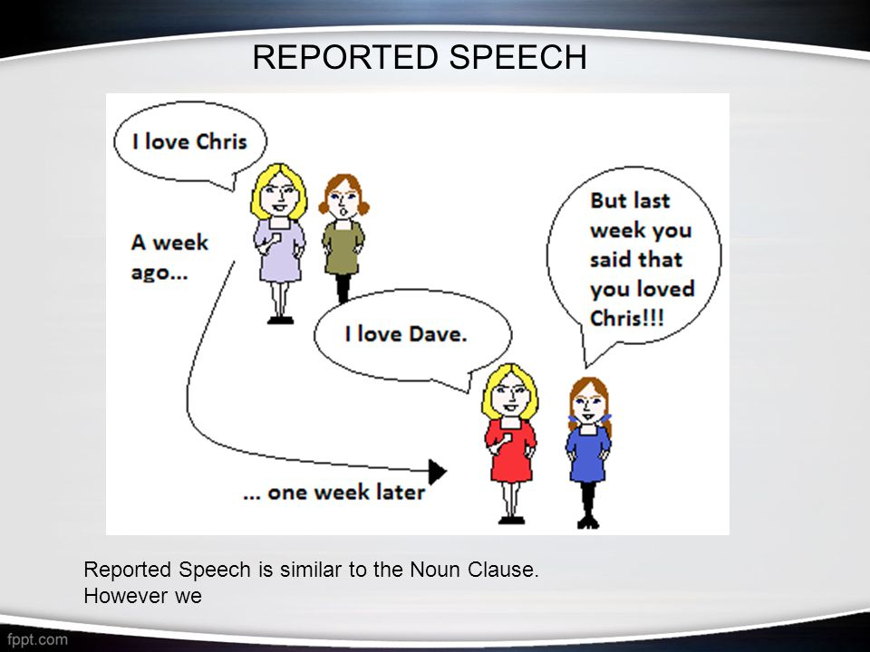 REPORTED SPEECH Reported Speech is similar to the Noun Clause. However we