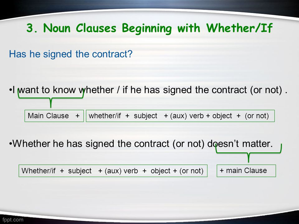 3. Noun Clauses Beginning with Whether/If Has he signed the contract.