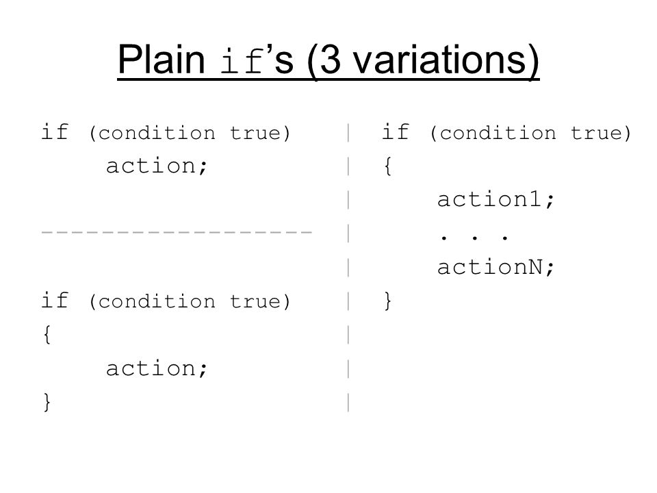 Caution with ; (it's Empty block of actions ) WRONG if (a < b) ; System.out.println( a<b ); // println will ALWAYS happens; not related to if RIGHT if (a < b) // no ; here System.out.println( a<b ); // println MAY happen, depending on if condition