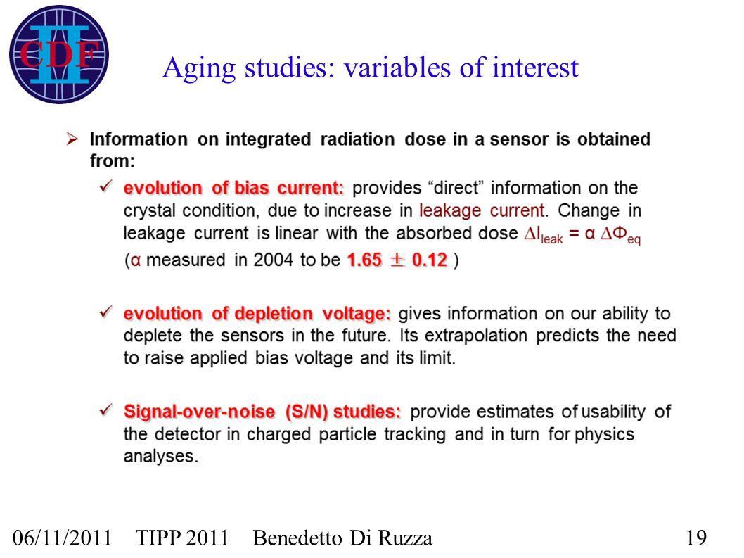 06/11/2011 TIPP 2011 Benedetto Di Ruzza19 Aging studies: variables of interest