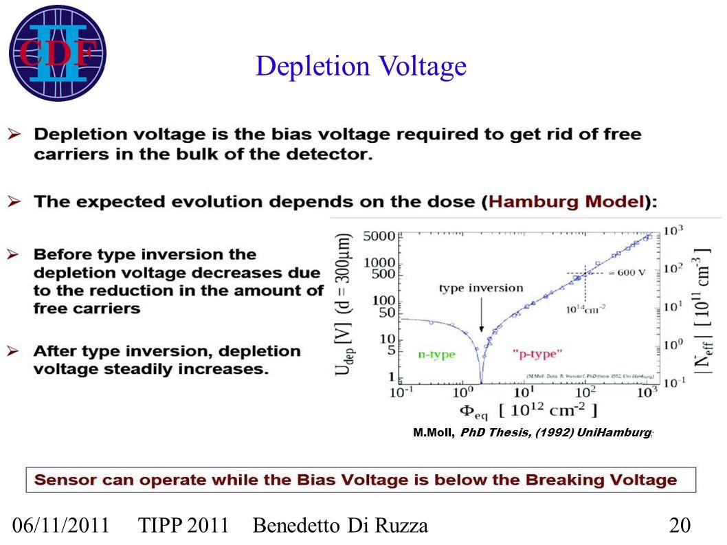 06/11/2011 TIPP 2011 Benedetto Di Ruzza20 Depletion Voltage M.Moll, PhD Thesis, (1992) UniHamburg ;