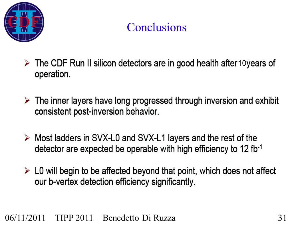 06/11/2011 TIPP 2011 Benedetto Di Ruzza31 Conclusions 10
