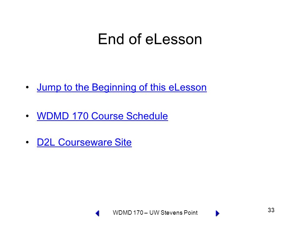 WDMD 170 – UW Stevens Point 33 End of eLesson Jump to the Beginning of this eLesson WDMD 170 Course Schedule D2L Courseware Site