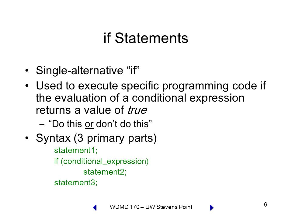WDMD 170 – UW Stevens Point 27 switch Statements Controls program flow by executing a specific set of statements, depending on the value of an expression Syntax switch (expression) { case label1: statement(s); break; case label2: statement(s); break; default: statement(s); } Note that there is no break statement following the last case label – the default label.