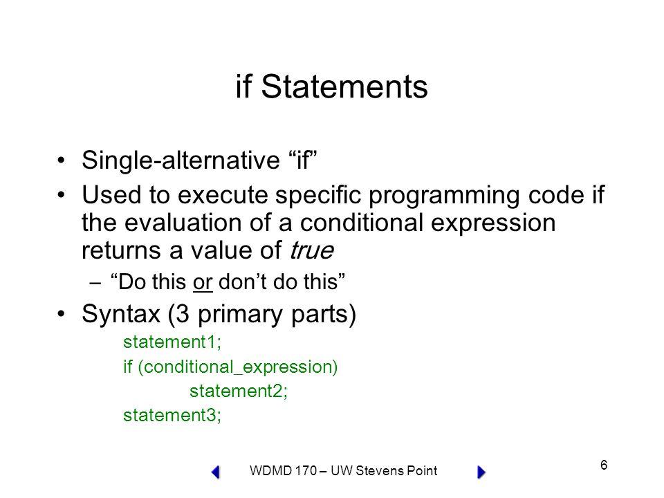 WDMD 170 – UW Stevens Point 7 conditional expression true statement 2 false statement 3 statement 1 if flow diagram