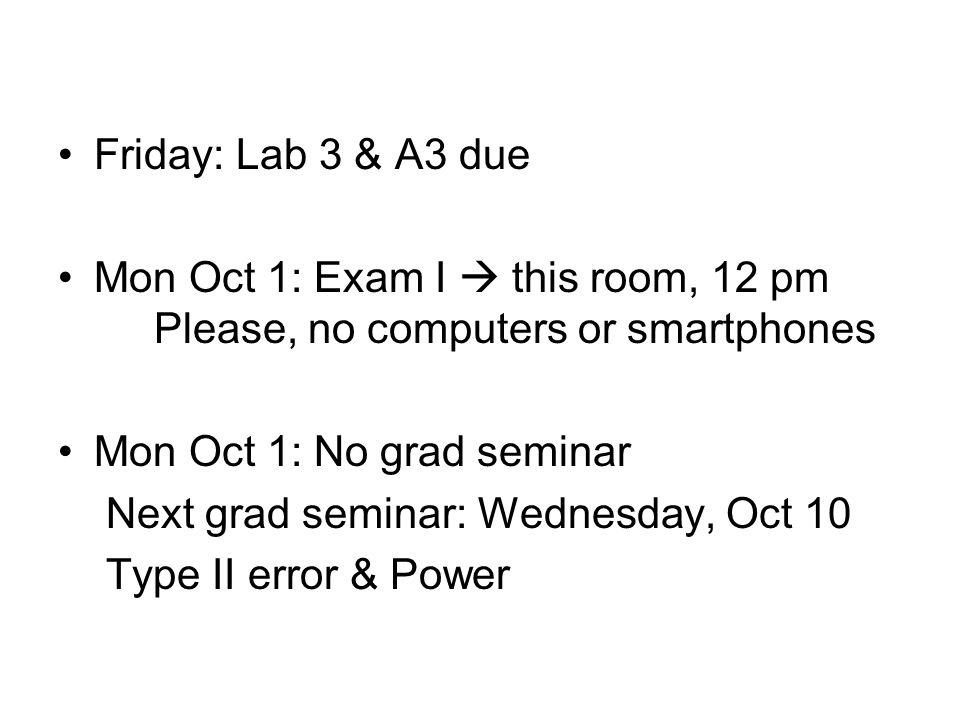 Friday: Lab 3 & A3 due Mon Oct 1: Exam I  this room, 12 pm Please, no computers or smartphones Mon Oct 1: No grad seminar Next grad seminar: Wednesda