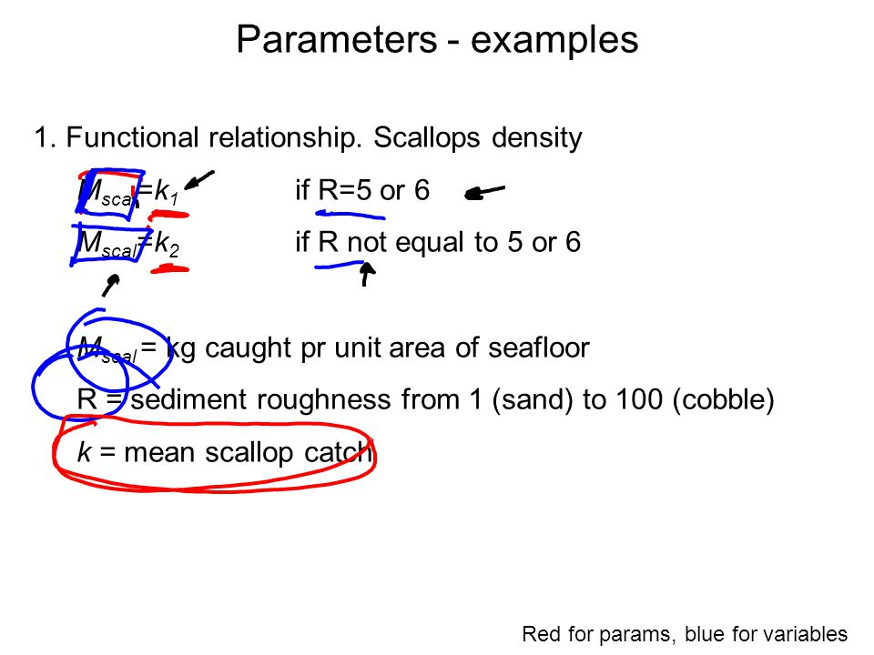 Parameters - examples 1.Functional relationship. Scallops density M scal =k 1 if R=5 or 6 M scal =k 2 if R not equal to 5 or 6 M scal = kg caught pr u