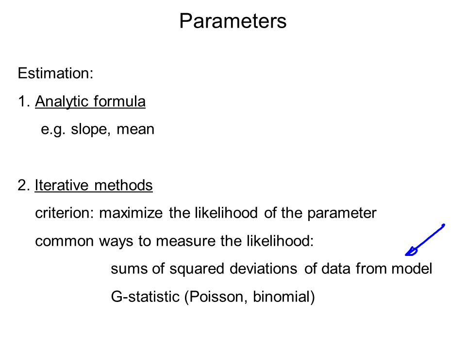 Parameters Estimation: 1.Analytic formula e.g. slope, mean 2. Iterative methods criterion: maximize the likelihood of the parameter common ways to mea