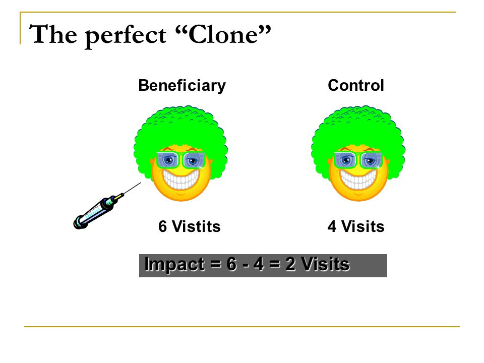 In reality, use statistics Average Y = 6 visits Impact = 6 - 4 = 2 Visits BeneficiaryControl Average Y = 4 visits