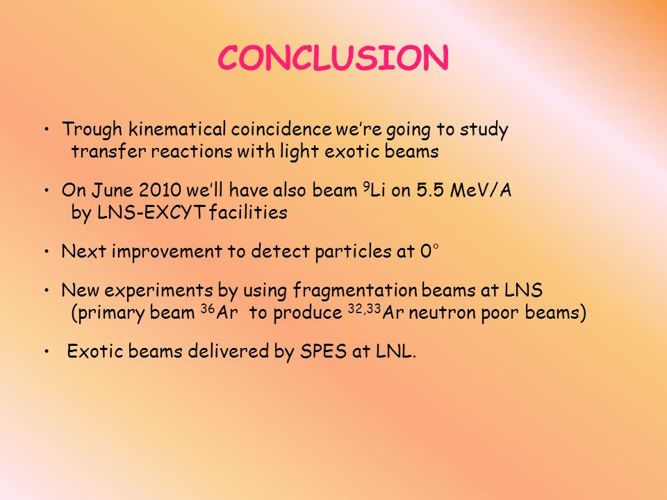 CONCLUSION Trough kinematical coincidence we're going to study transfer reactions with light exotic beams On June 2010 we'll have also beam 9 Li on 5.5 MeV/A by LNS-EXCYT facilities Next improvement to detect particles at 0° New experiments by using fragmentation beams at LNS (primary beam 36 Ar to produce 32,33 Ar neutron poor beams) Exotic beams delivered by SPES at LNL.