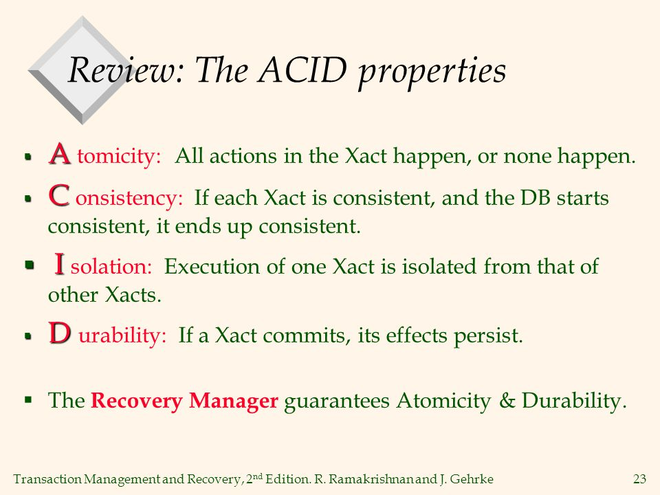 Transaction Management and Recovery, 2 nd Edition. R. Ramakrishnan and J. Gehrke23 Review: The ACID properties  A  A tomicity: All actions in the Xa