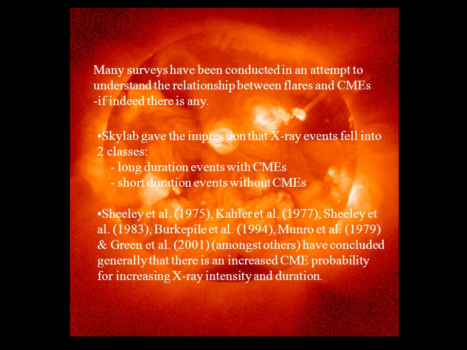 Many surveys have been conducted in an attempt to understand the relationship between flares and CMEs -if indeed there is any.