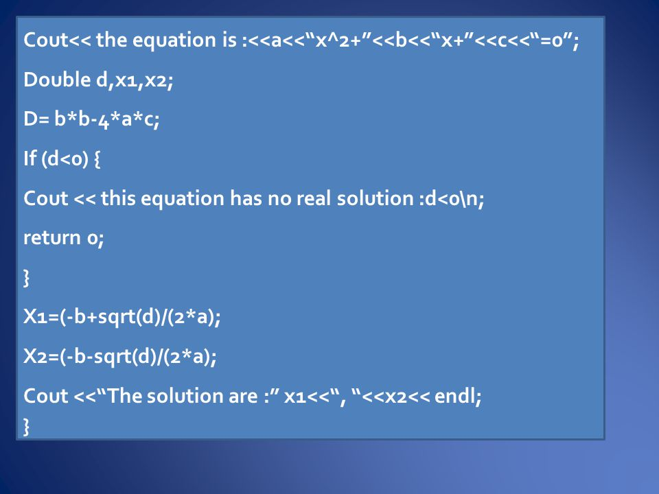Syntax: switch (expression) { case constant1: statements;...