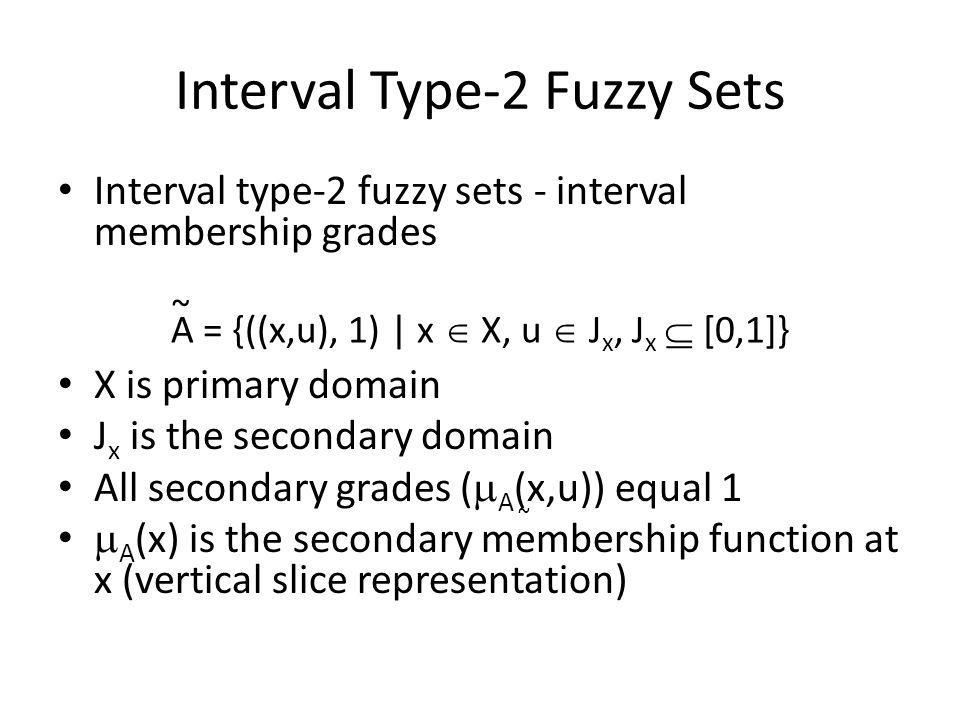 Interval Type-2 Fuzzy Sets Interval type-2 fuzzy sets - interval membership grades X is primary domain J x is the secondary domain All secondary grades (  A (x,u)) equal 1  A (x) is the secondary membership function at x (vertical slice representation) A = {((x,u), 1) | x  X, u  J x, J x  [0,1]} ~ ~