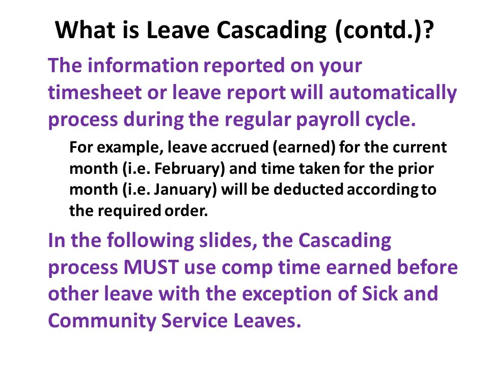 What is Leave Cascading (contd.).