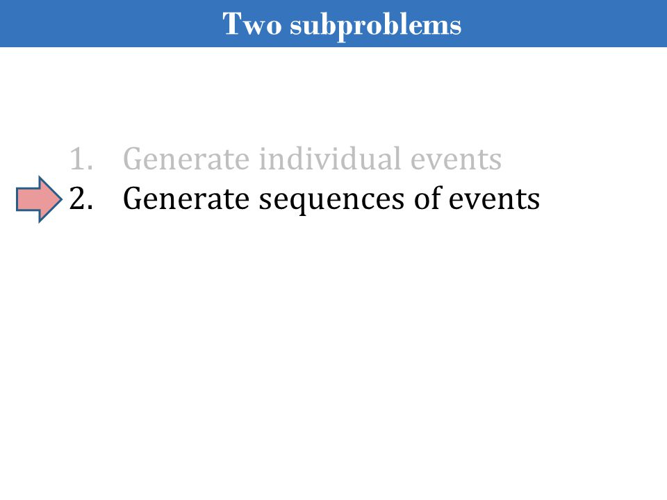1.Generate individual events 2.Generate sequences of events Two subproblems