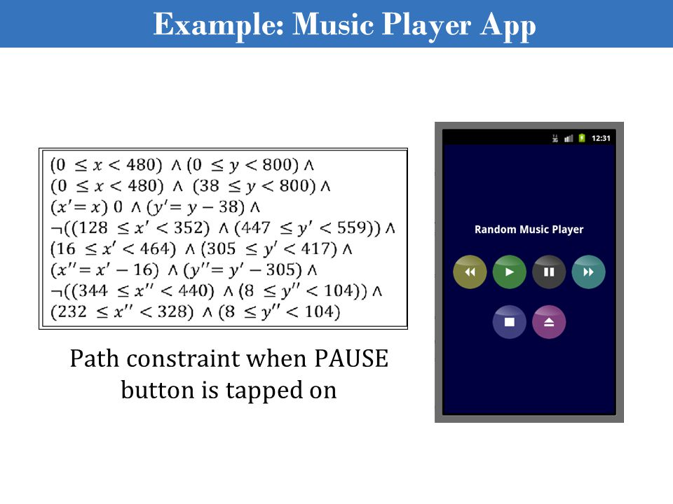 Path constraint when PAUSE button is tapped on Example: Music Player App