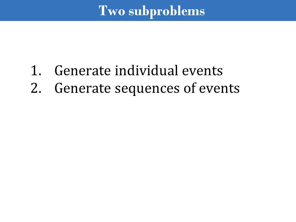 Generating Individual Events An event is associated with data o X & Y coordinates of a tap event o geo-location of a change-in-geo-location event o content of an incoming SMS event o etc.