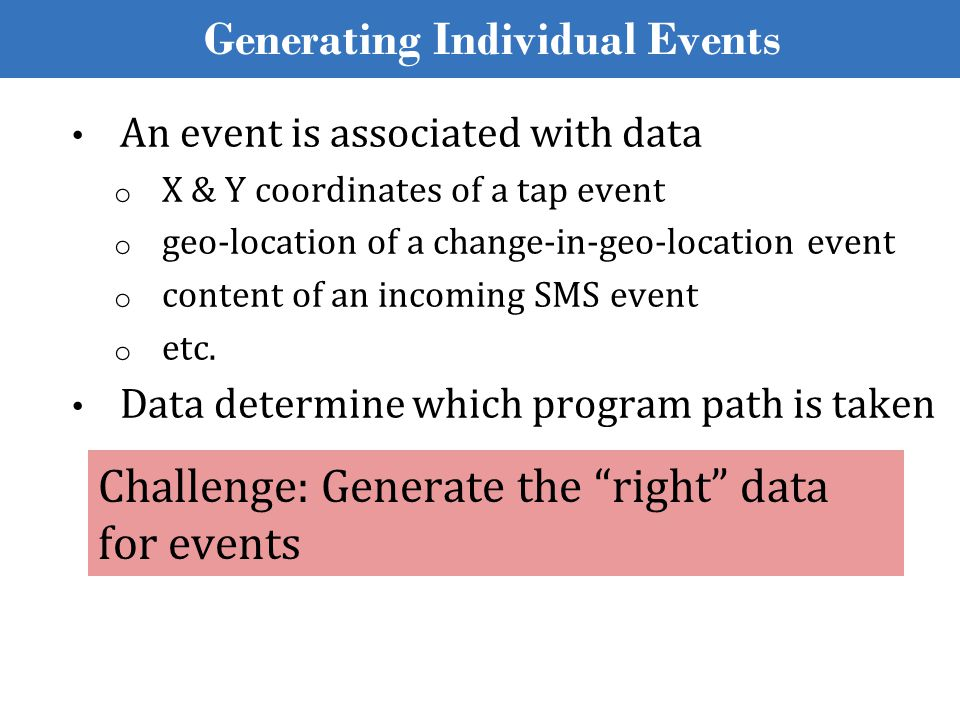 Generating Individual Events An event is associated with data o X & Y coordinates of a tap event o geo-location of a change-in-geo-location event o co
