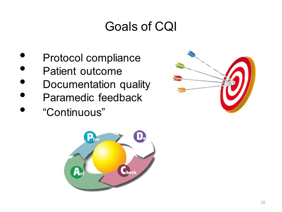 """Goals of CQI Protocol compliance Patient outcome Documentation quality Paramedic feedback """"Continuous"""" 26"""
