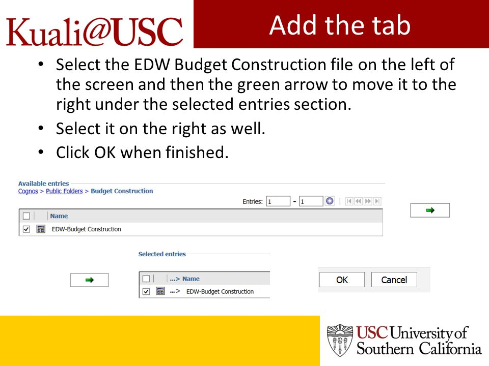 Add the tab Select the EDW Budget Construction file on the left of the screen and then the green arrow to move it to the right under the selected entries section.