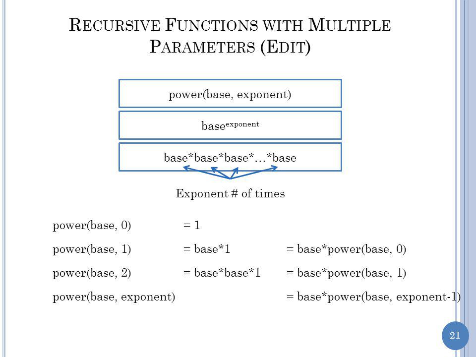 21 R ECURSIVE F UNCTIONS WITH M ULTIPLE P ARAMETERS (E DIT ) power(base, exponent) base exponent base*base*base*…*base Exponent # of times power(base, 0)= 1 power(base, 1)= base*1= base*power(base, 0) power(base, 2)= base*base*1= base*power(base, 1) power(base, exponent)= base*power(base, exponent-1)
