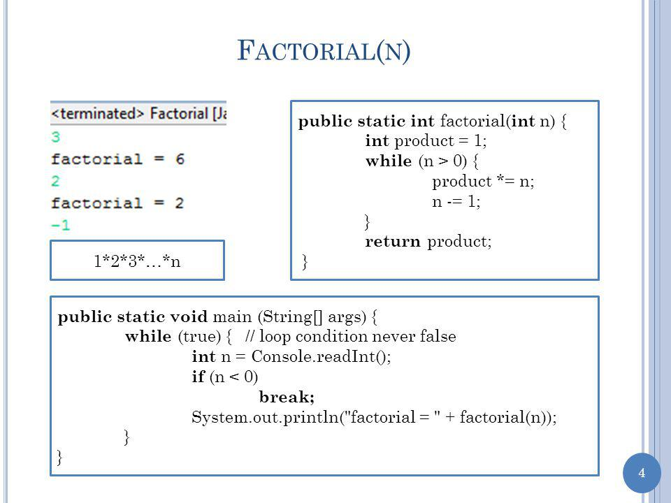 5 D EFINING F ACTORIAL ( N ) Product of the first n numbers 1*2*3*…*n factorial(0)= 1 factorial(1)= 1= 1*factorial(0) factorial(2)= 2*1= 2*factorial(1) factorial(3)= 3*2*1= 3*factorial(2) factorial(4)= 4*3*2*1= 4*factorial(3) factorial(n)= n*n-1*…*1= n*factorial(n-1)