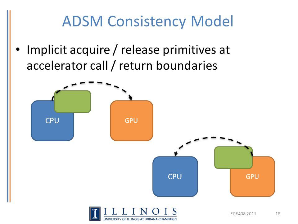 ADSM Consistency Model Implicit acquire / release primitives at accelerator call / return boundaries CPU GPU CPU GPU ECE408 201118